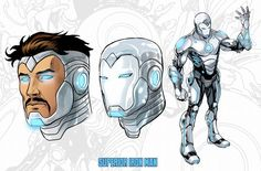 IGN Exclusive: Superior Iron Man Character Sheets of the new armor by Yildray Cinar of Iron Man Kunst, Iron Man Art, Marvel Fan, Marvel Heroes, Marvel Characters, Man Character, Character Design, New Superheroes, Superior Iron Man