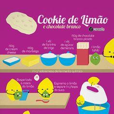 Infográfico receita de Cookie de limão com chocolate branco. Uma receita diferente dos cookies tradicionais. Possui cream cheese que deixa um sabor e textura bem diferente diferente. Ingredientes: Manteiga, cream cheese, limão, açúcar, farinha, fermento e chocolate branco.