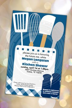 Kitchen Shower   50 Wedding Party Shower Bridal Cooking Couples   Custom  Quantities Available Custom Invitation Part 89
