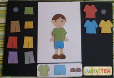 Imprimible de niño, niña, mucha ropa y tarjetas para vestirlos según lo indicado