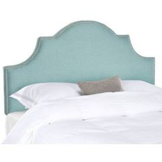 "Features:  -Material: Plywood.  -Upholstery material: 20% Linen and 80% polyester.  -Backside is upholstered.  Finish: -Teal.  Frame Material: -Manufactured wood. Dimensions:  -53.9"" H x 77.6"" W x 3.1"