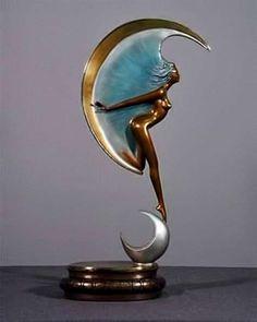 """Angelo Basso """"La Luna Sculpture"""" Z Pinturas Art Deco, Art Nouveau, Moon Art, Art Deco Design, Art Plastique, Art Deco Fashion, Metal Art, Glass Art, Art Photography"""