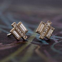 Pave Baguette Diamond Earrings: Vintage diamonds by AnuevaJewelry