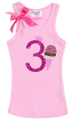 Girls 3rd Birthday Outfit Ice Cream Birthday Ice by BubbleGumDivas
