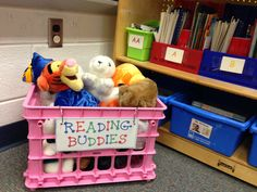 Stuffed animals in the classroom library to motivate quiet independent reading time