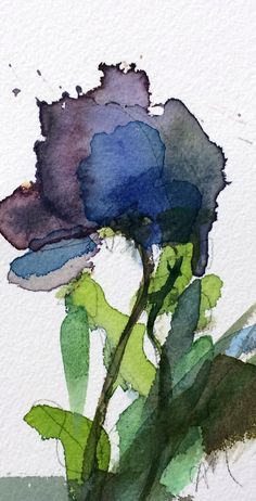 Blue Poppy Original Floral Watercolor Painting by Angela Moulton 3.5 x 6 inch in 8 x 10 inch Mat