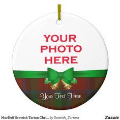 MacDuff Scottish Tartan Christmas Photo Double-Sided Ceramic Round Christmas Ornament