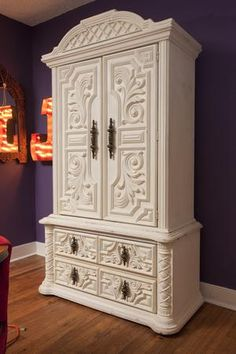 Love this white armoire with such a cool pattern on it. See MORE Junk Gypsies room makeovers >> http://www.greatamericancountry.com/shows/junk-gypsies?soc=pinterest