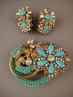 Authentic Miriam Haskell Brooch Earrings Turquoise Beads Clear Rhinestone Pearls