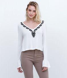 111 melhores imagens de blusas manga comprida e 7 8   Blouses, Shirt ... c960c671dc