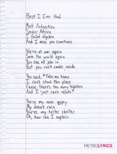 "Gavin DeGraw's Handwritten Lyrics to ""Best I Ever Had"": Part 1"