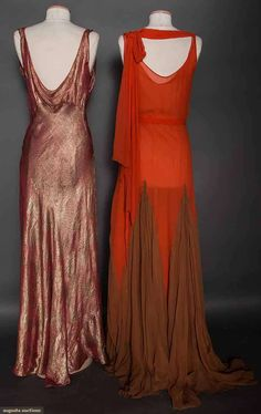 TWO CORAL EVENING GOWNS, 1930s (back views) 1 gold deco pattern lame, bias cut; 1 silk chiffon, pin tucked yoke, rhinestone belt buckle, skirt w/ cocoa accordion pleated gores, silk chiffon underdress