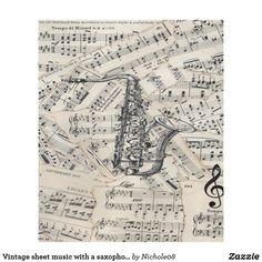 Vintage sheet music with a saxophone fleece blanket