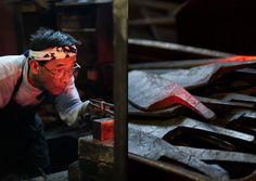 Kitchen knife builder Kenichi Shiraki. Sakai, Osaka.