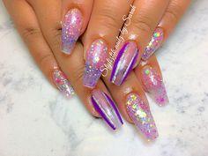 Purple glitter nails  Styliztik nailz by Sarah  Coffin nails  Albuquerque NM
