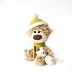 Collectible mohair teddy bear Pea Artist Bear by SoftlyBearPaw