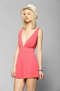Lucca Couture Deep-V Open-Back Romper- Urban Outfitters