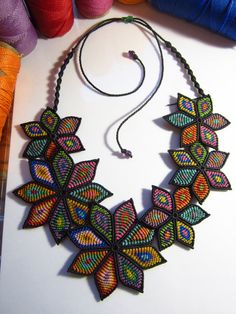 Multicolored Flower Macrame Necklace Creation by PapachoCreations, $128.00