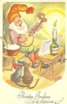 ˇˇ Christmas Tale, Christmas Cards, Xmas, Gnome House, Gnomes, Christmas Illustration, Banjo, Vintage Children, Scandinavian