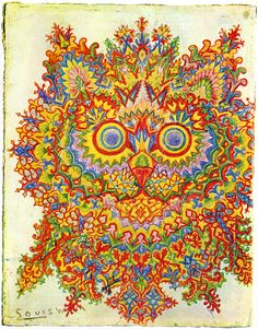 Artwork by Louis Wain. He loved the cats. Later on in his life when he developed schizophrenia he became hostile and suspicious, particularly towards his sisters. He claimed that the flickering of the cinema screen had robbed the electricity from their brains.