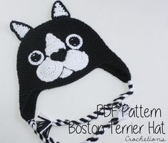Love Boston Terriers? Make this hat with the Boston Terrier hat Crochet Pattern!