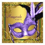 Feather Mask Purple and Gold Masquerade Party Card