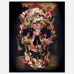 Jungle Skull Print 11x14 art, multi, ali gulec