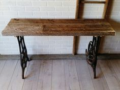 Barn board Top table with old sewing machine legs