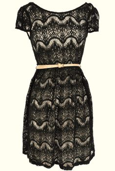 Black Lace Belted Dress