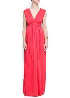 Evening Dress with V-Neck.