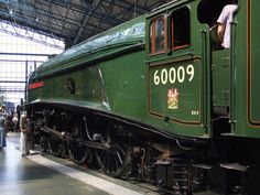 With an admirer looking at the driving wheels and motion, LNER 60009 Union of South Africa continues to get attention and cab visitors in the National Railway Museum's Great Hall. Union Of South Africa, National Railway Museum, Steam Railway, British Rail, Steam Engine, Steam Locomotive, Model Trains