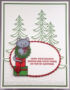 Heart's Delight Cards: Pretty Kitty Meets Santa's Sleigh