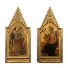 Lorenzo di Niccolò (documenté à Florence entre 1391 et 1411), L'Ange de l'Annonciation et La Vierge, paire de panneaux de peuplier de forme ogivale dans la partie supérieure à fond d'or, 88 x 40 cm (avec les cadres). Adjugé : 125 120 € Lundi 17 octobre, Espace Tajan. Tajan OVV. Cabinet Turquin.