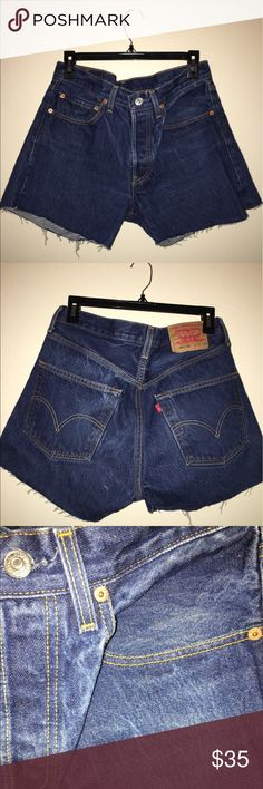 🔷🔹Levi's high waisted denim shorts🔹🔷 Super cute and flattering high waisted jeans in the classic dark denim done by Levi's. The button fly detail makes them even more of a classic. They are pretty fitted on me, i usually wear a size 27/28, or size medium. can give measurements upon request. These are in perfect condition and have never been worn Urban Outfitters Shorts Jean Shorts