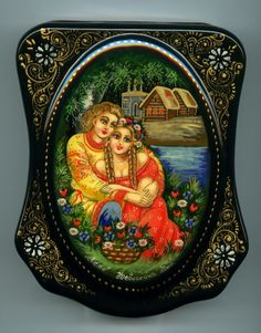 """Russian Lacquer Box Fedoskino """"Summertime"""" Hand Painted 