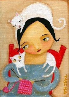 white cat knitting helper wall art print of folk art by tascha