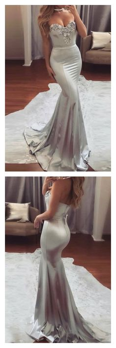 Prom Dress Fitted, Mermaid Sweetheart Sweep Train Silver Elastic Satin Prom Dress with Beading There are delicate lace prom dresses with sleeves, dazzling sequin ball gowns, and opulently beaded mermaid dresses. Prom Dresses For Teens, Prom Dresses 2018, Mermaid Prom Dresses, Cheap Prom Dresses, Prom Party Dresses, Formal Dresses, Party Gowns, Graduation Dresses, Dresses Dresses