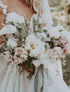 Wedding Flower white peony bouquet by Christine Cater, Ryder Sloan Events, Ty French Photo - % Wedding Flower Arrangements, Flower Bouquet Wedding, Floral Wedding, Whimsical Wedding Flowers, Flower Bouquets, Purple Wedding, Peonies Wedding Centerpieces, Floral Arrangements, Greenery Bouquets