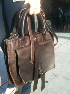 Handstitched Leather tote brown rustic handmade handstitched by Aixa Sobin Leathers Luscious Leathers NYC