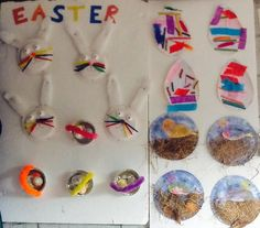 Our Easter ideas!  Collage Easter eggs Egg she'll Easter egg baskets  Plate and natural resources birds in a nest!  Bunny rabbit plates