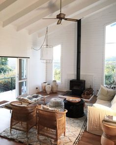 vaulted ceiling with exposed beams in bohemian modern home. / sfgirlbybay