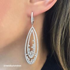 Woman Solid In White Gold Over Round Cut Diamond Hoop Earrings Long Diamond Earrings, Diamond Chandelier Earrings, Diamond Earing, Small Earrings, Stone Earrings, Crystal Earrings, Diamond Jewelry, Gold Earrings, Geode Jewelry