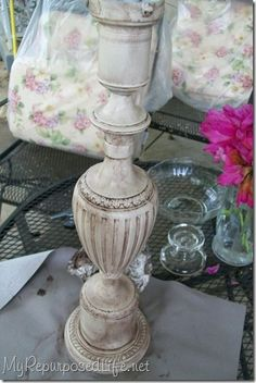 Painted Candlesticks, Candlestick Lamps, Table Lamps, Chandelier Makeover, Lamp Makeover, Lamp Redo, Shabby Chic Candle Holders, Paint Brass, Painting Lamps