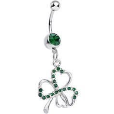 Dark Green Silvery Shamrock Dangle Belly Ring | Body Candy Body Jewelry