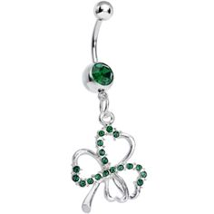 Dark Green Silvery Shamrock Dangle Belly Ring | Body Candy Body Jewelry