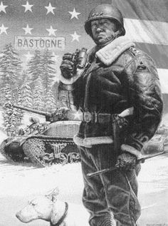 Gen. George S. Patton, wearing a 4th Armored Division patch on his shoulder, was the hero of the Battle of the Bulge. He is shown here with a Sherman tank in the background. The general was Sgt. John Beck Jr.'s commander.