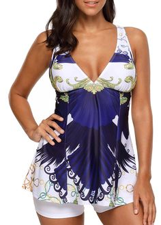 Padded Criss Cross Back Printed Tankini Set,45% off, free shipping worldwide, check it now.