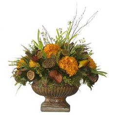 Preserved pear, hydrangea, and greenery arrangement in a footed planter.    Product: Plant arrangement Construction Material: Preserved florals and tole   Color: Yellow and black     Features:  Includes hydrangeas and pears�� � Dimensions: 24 H x 30 W x 20 D���  Note:  Heights are measured from base of the pot