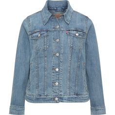 Levi s Light-Blue Plus Size Pale wash denim jacket ($125) ❤ liked on Polyvore featuring outerwear, jackets, plus size, short denim jacket, straight jacket, levi jacket, plus size jackets and light blue jacket