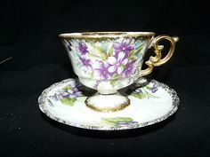 ucagco tea cups and saucers   Ucagco, February Flower of the Month, teacup and saucer, Violet More